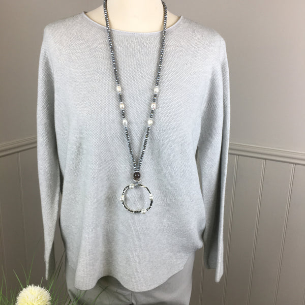 ENVY SILVER BEAD & PEARL NECKLACE