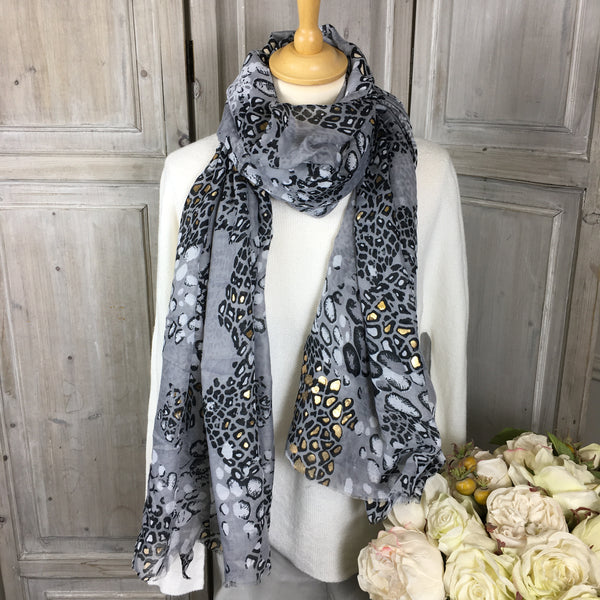 ZELLY CHARCOAL GREY AND GOLD ANIMAL PRINT SCARF