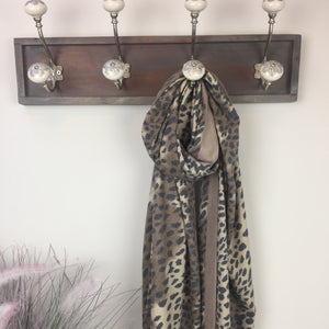COTTON AND CASHMERE ANIMAL PRINT SCARF IN TAN