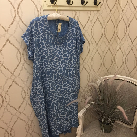 KNOT BACK COCOON DRESS IN BLUE