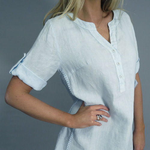 D.E.C.K POM POM DETAIL LINEN SHIRT DRESS IN WHITE