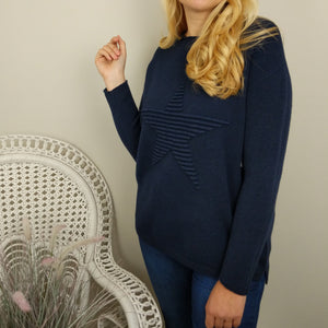 SUPER SOFT STAR KNITTED JUMPER IN NAVY