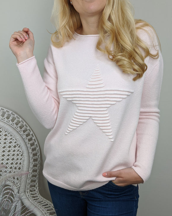SUPER SOFT STAR KNITTED JUMPER IN PALE PINK