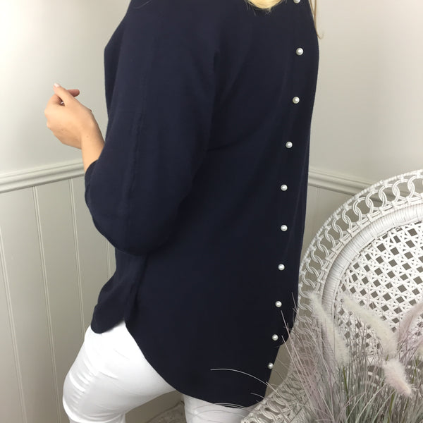 PEARL BUTTON BACK KNIT IN NAVY