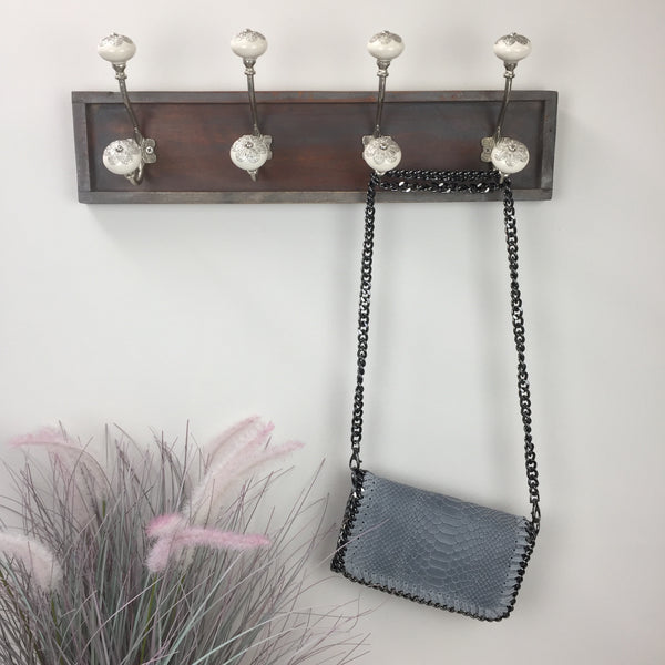 PEARL GREY LEATHER CLUTCH BAG