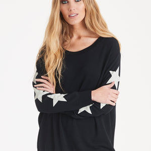 A POSTCARD FROM BRIGHTON STARRY SLEEVE SWEATER IN BLACK