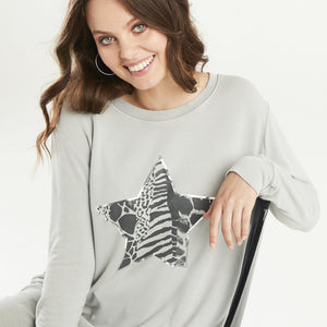 A POSTCARD FROM BRIGHTON MULTI PRINT STAR SWEATER IN GREY