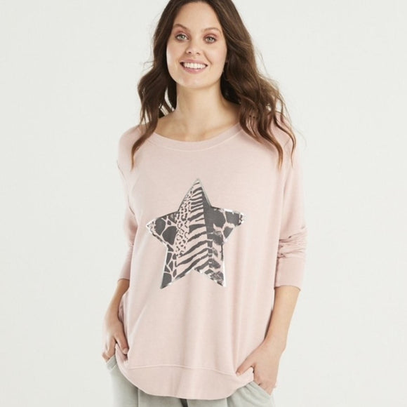 A POSTCARD FROM BRIGHTON MULTI PRINT STAR SWEATER IN PALE PINK