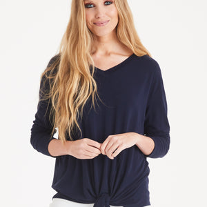 A POSTCARD FROM BRIGHTON LUCINDA TIE FRONT TOP IN NAVY