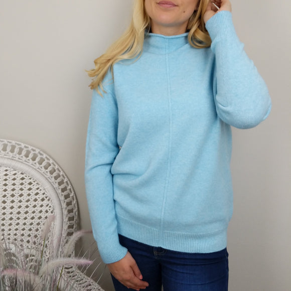 CASHMERE FEEL ROLL NECK SWEATER IN PALED TURQUOISE