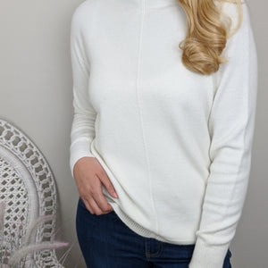CASHMERE FEEL ROLL NECK SWEATER IN CREAM