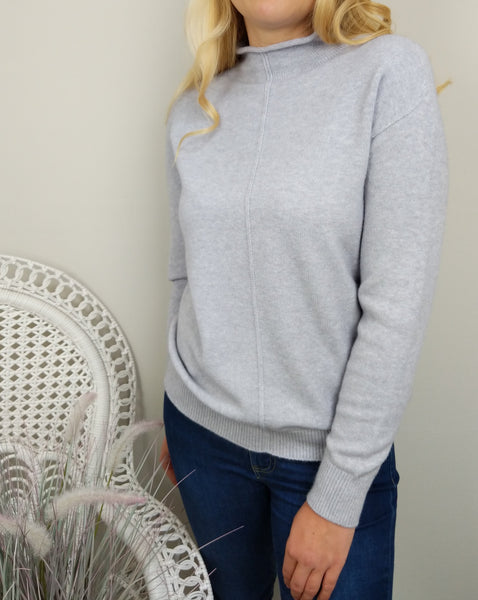CASHMERE FEEL ROLL NECK SWEATER IN SILVER GREY