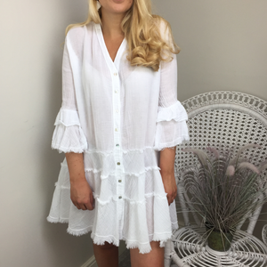CHEESECLOTH FRILL DRESS IN WHITE