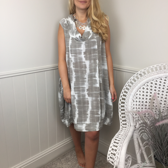 TIE DYE COWL NECK LINEN DRESS IN TAUPE