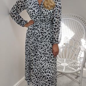 ANIMAL PRINT CHIFFON MIDI DRESS