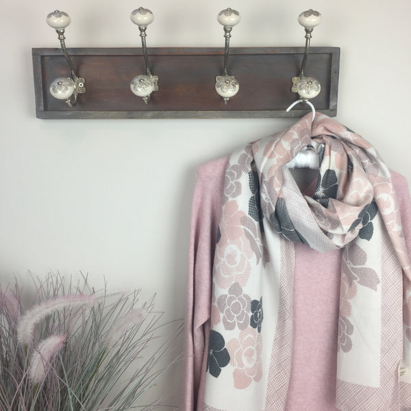 COTTON AND CASHMERE PINK FLORAL SCARF