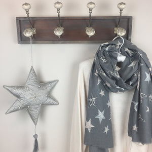 COTTON AND CASHMERE STAR SCARF IN GREY