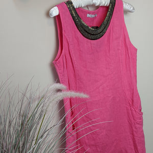 D.E.C.K BY DECOLLAGE BEADED NECKLINE DRESS- CERISE PINK