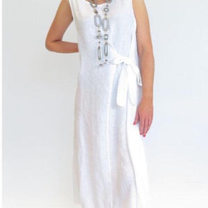 D.E.C.K BY DECOLLAGE TIE WAIST LINEN DRESS IN WHITE