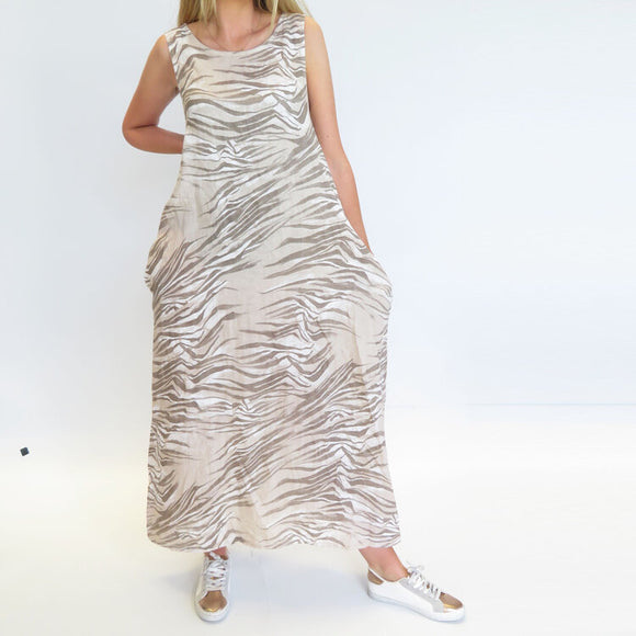 D.E.C.K BY DECOLLAGE ZEBRA LINEN MAXI DRESS IN STONE