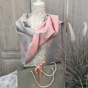 ZELLY TREE OF LIFE PINK & GREY REVERSIBLE SHAWL