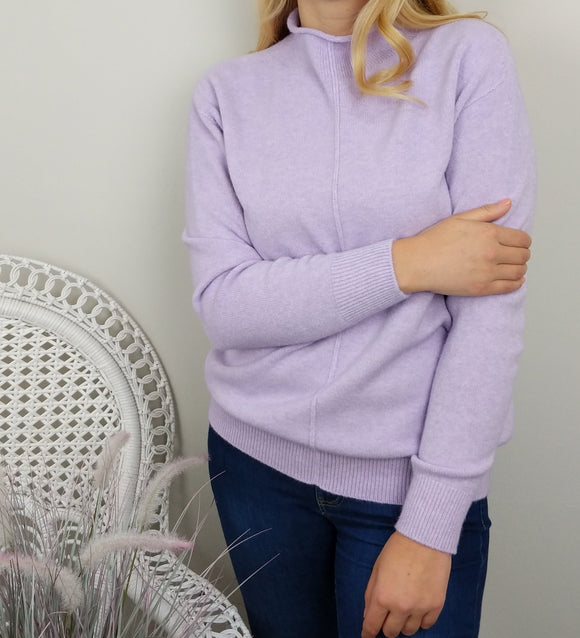 CASHMERE FEEL ROLL NECK SWEATER IN LILAC