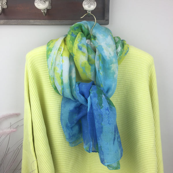 LIME AND BLUE PRINTED SCARF