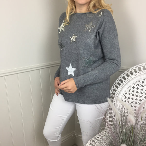 MULTI PEARL & SEQUIN STAR KNIT IN GREY