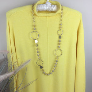 PALE LEMON BEAD AND HOOP NECKLACE