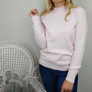 CASHMERE FEEL ROLL NECK SWEATER IN PALE PINK