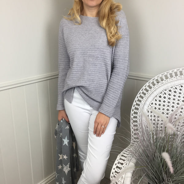 CASHMERE FEEL SOFT RIBBED SWEATER IN GREY