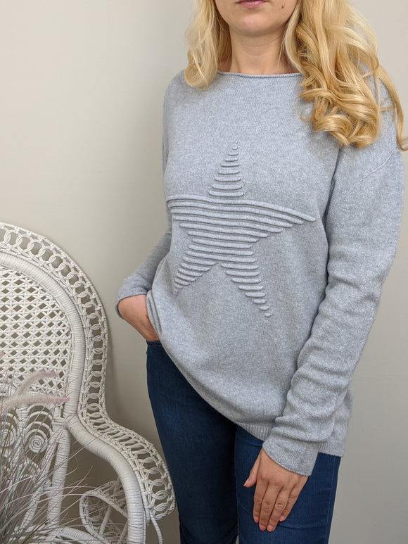 SUPER SOFT STAR KNITTED JUMPER IN SILVER GREY