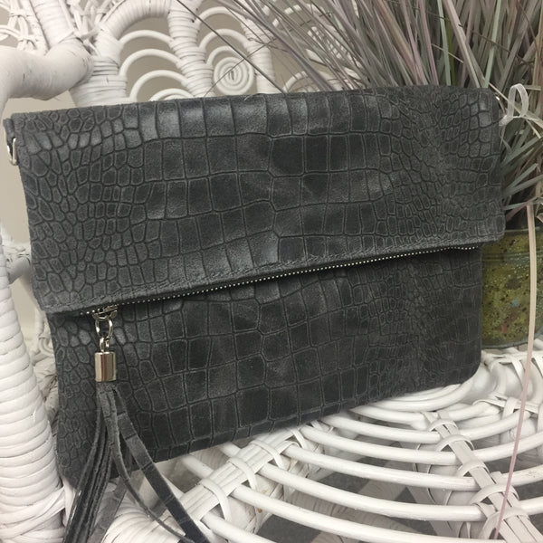 LEATHER CLUTCH BAG IN SLATE GREY