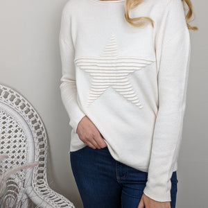 SUPER SOFT STAR KNITTED JUMPER IN CREAM