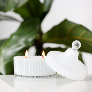 The Secret Garden- {High Gloss White} Glass Trinket Jar- 35 Hour Soy Wax Candle