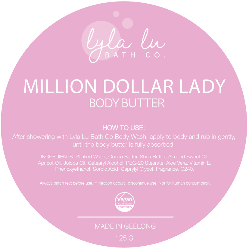 Million Dollar Lady Body Butter 125g - Lyla Lu Bath Co