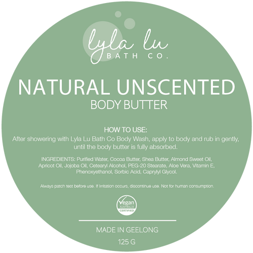 Natural Unscented Body Butter 125g - Lyla Lu Bath Co