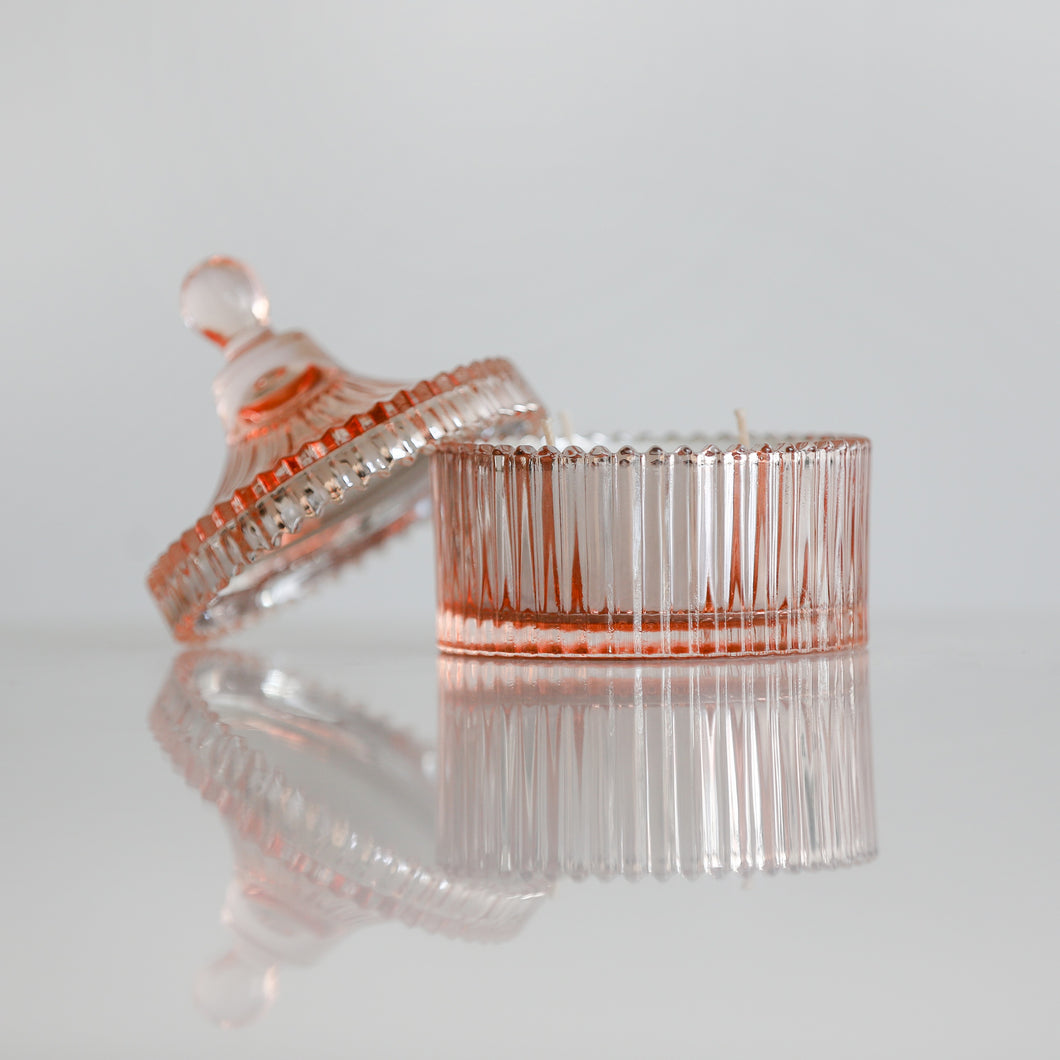 Sinar Bali- {Rose Gold} Glass Trinket Jar- 35 Hour Soy Wax Candle