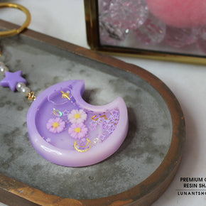 Purple Moon Resin Shaker Charm & Chain