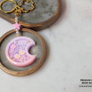 Violet Moon Resin Shaker Charm & Chain