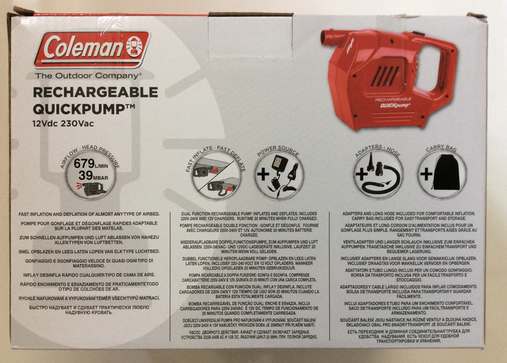 Coleman rechargeable quickpump 12volt and 230v