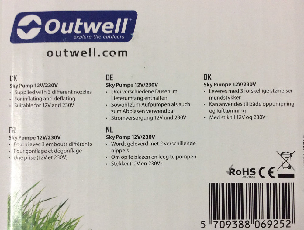 Outwell sky pump12v/230v inflating and deflating air pump