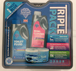 Triple pack toilet chemical and paper