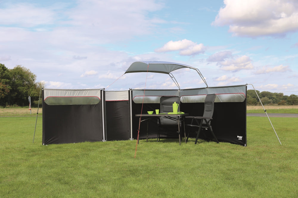Windbreak shown complete with all extras including weather canopy