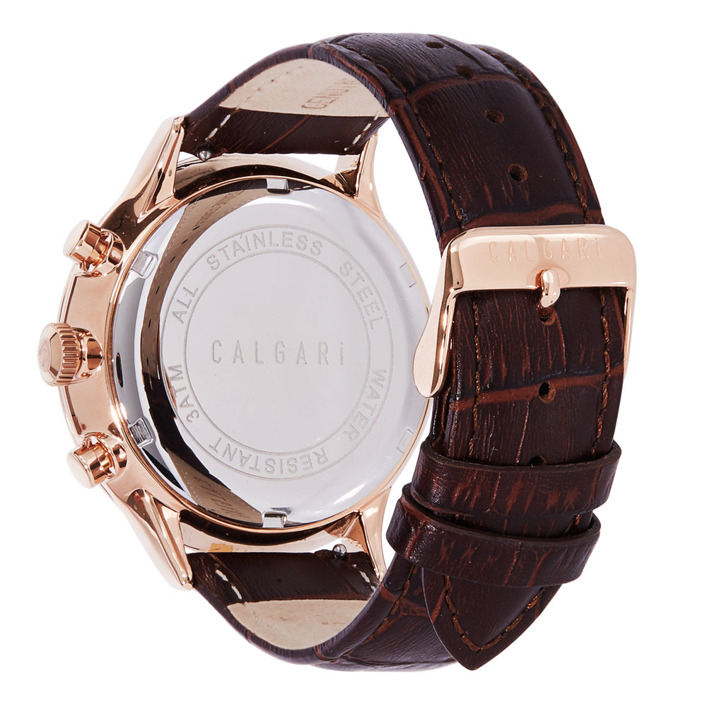 Conscio Watch Strap Brown Leather Croco Rose Gold- back