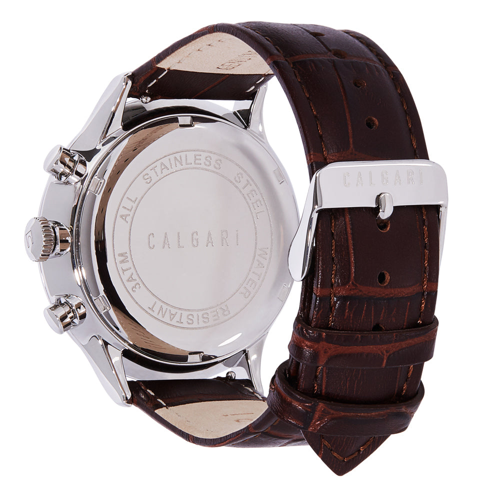 Conscio Watch Strap Brown Leather Croco Silver - back