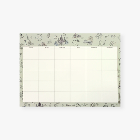 L´Aprés Midi – Deskpad Monthly - Paris Pattern Grey