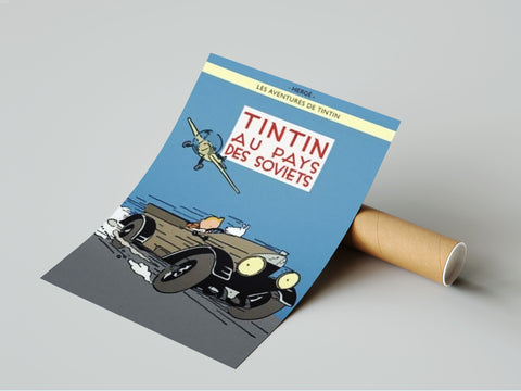 Poster Album Cover -  Tintin au pays des Soviets - Color version