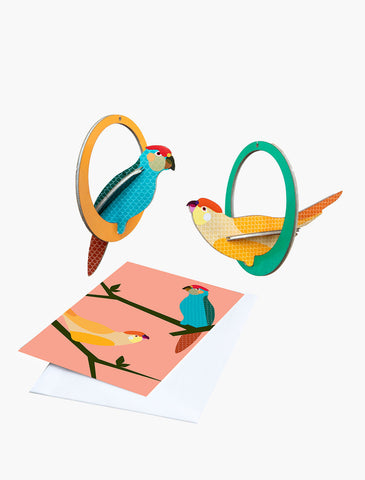 Pop Out Card - Swinging Parakeets