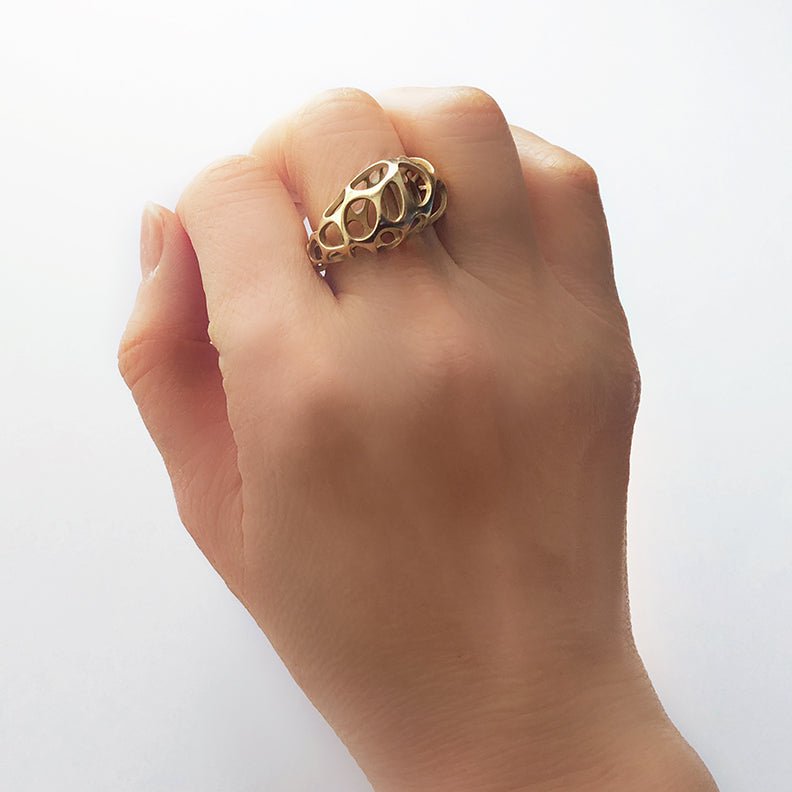 Voronoi Ring - 3D Printed in Silver, 14kt/18kt Gold Plate